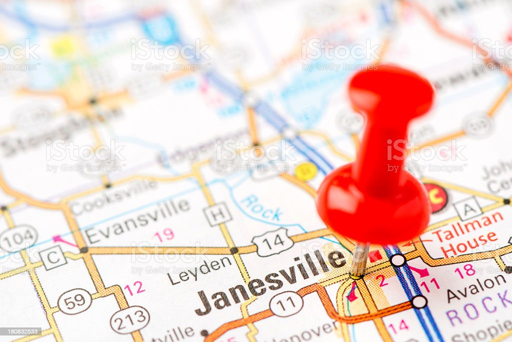 US capital cities on map series: Janesville, Wisconsin, WI stock photo