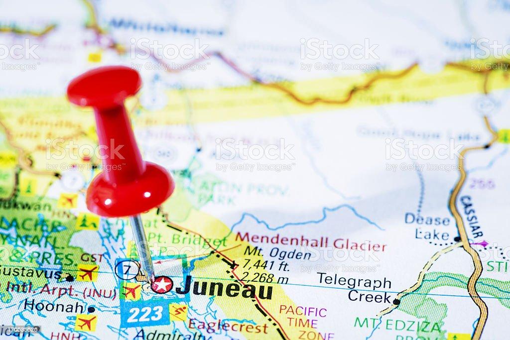 Us Capital Cities On Map Series Juneau Alaska Ak Stock Photo - Map of us and alaska