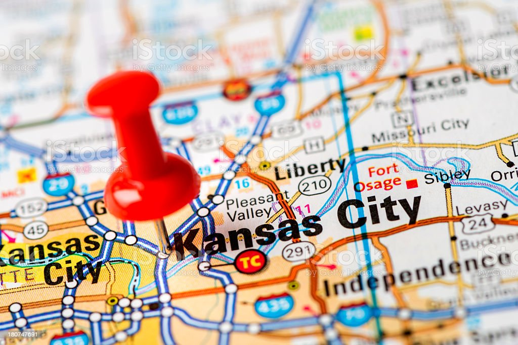 US capital cities on map series: Kansas City, MO stock photo
