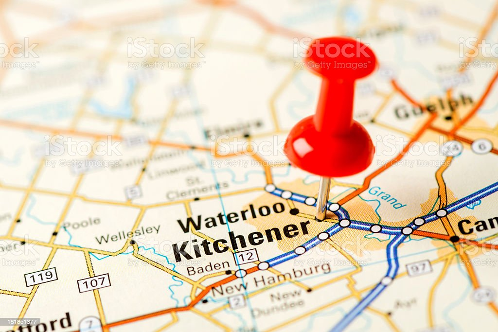 US capital cities on map series: Kitchener, Ontario stock photo