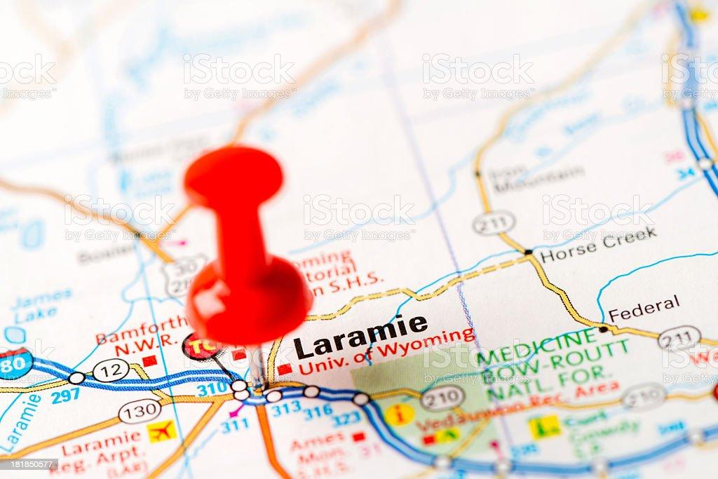 US capital cities on map series: Laramie, WY stock photo
