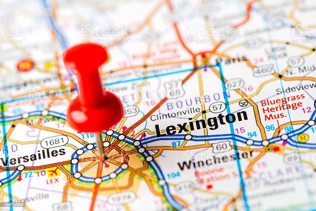 US capital cities on map series: Lexington, KY stock photo