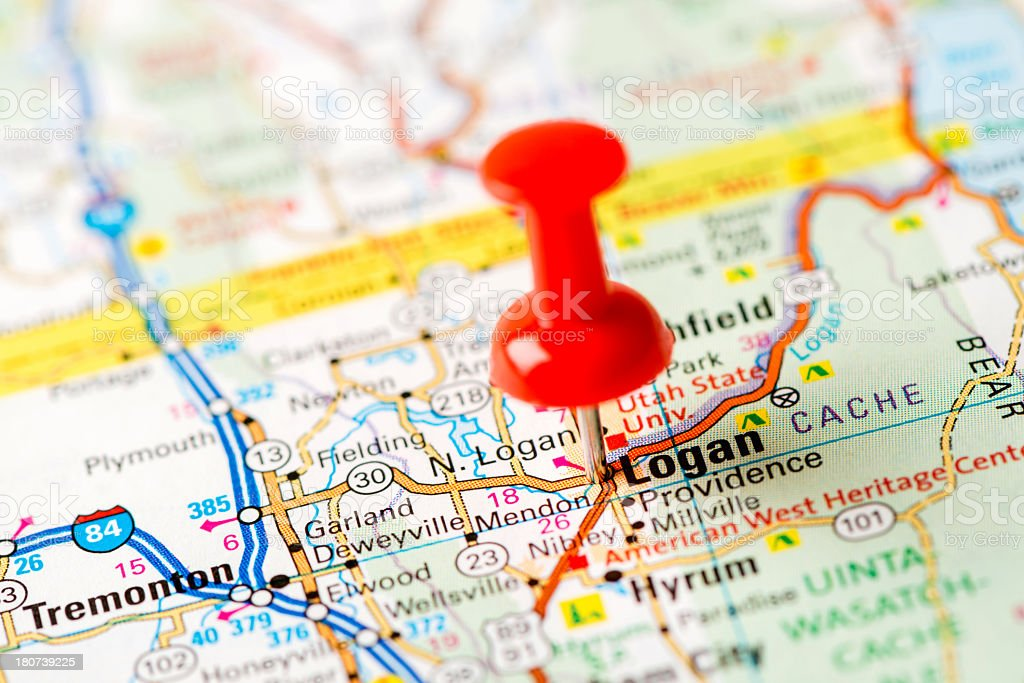 US capital cities on map series: Logan, UT stock photo