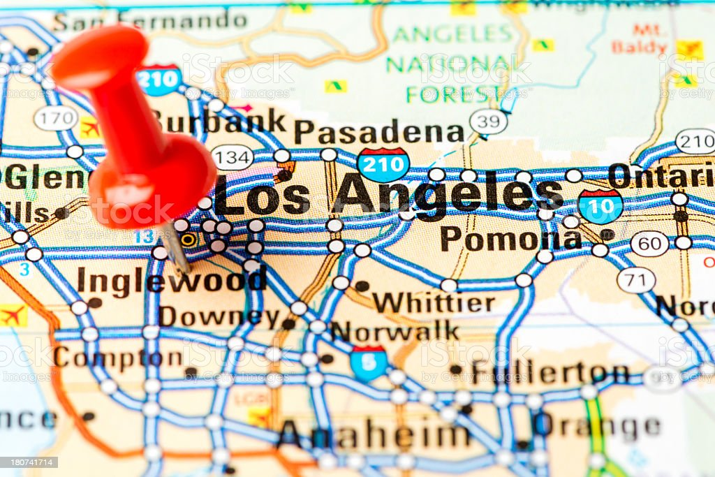Us Capital Cities On Map Series Los Angeles Ca Stock Photo - Los angeles on the map