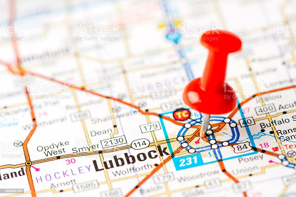 US capital cities on map series:  Lubbock, Texas, TX stock photo