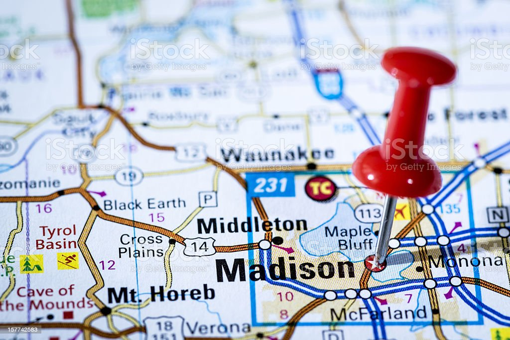 US capital cities on map series: Madison, Wisconsin, WI stock photo