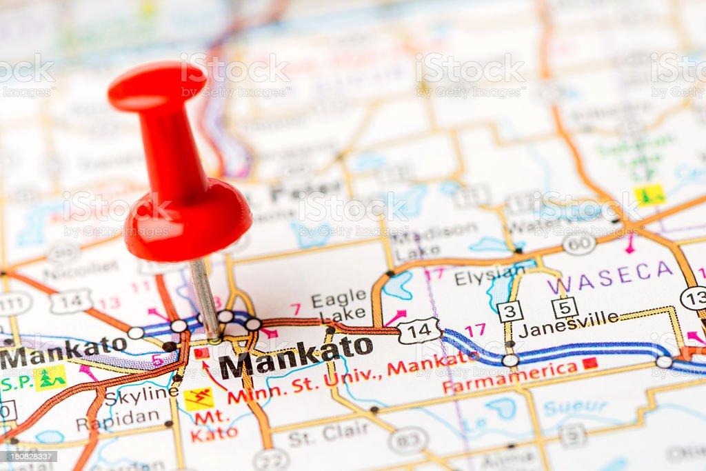 US capital cities on map series: Mankato, MN stock photo