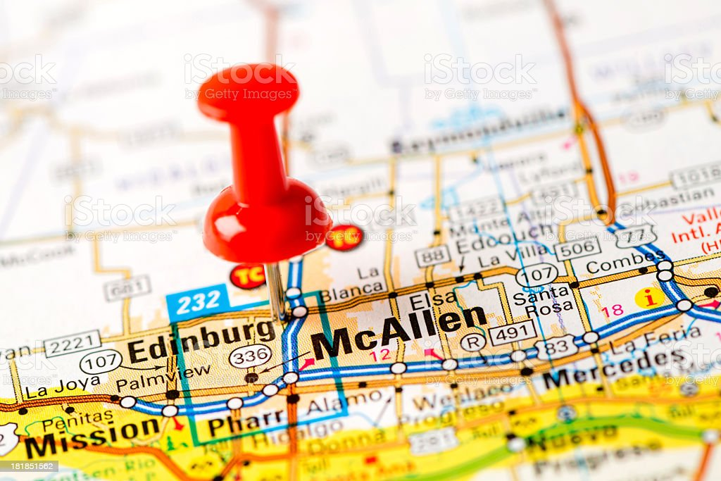 US capital cities on map series: McAllen, TX stock photo