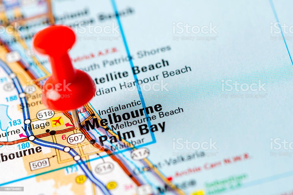 US capital cities on map series: Melbourne, FL stock photo