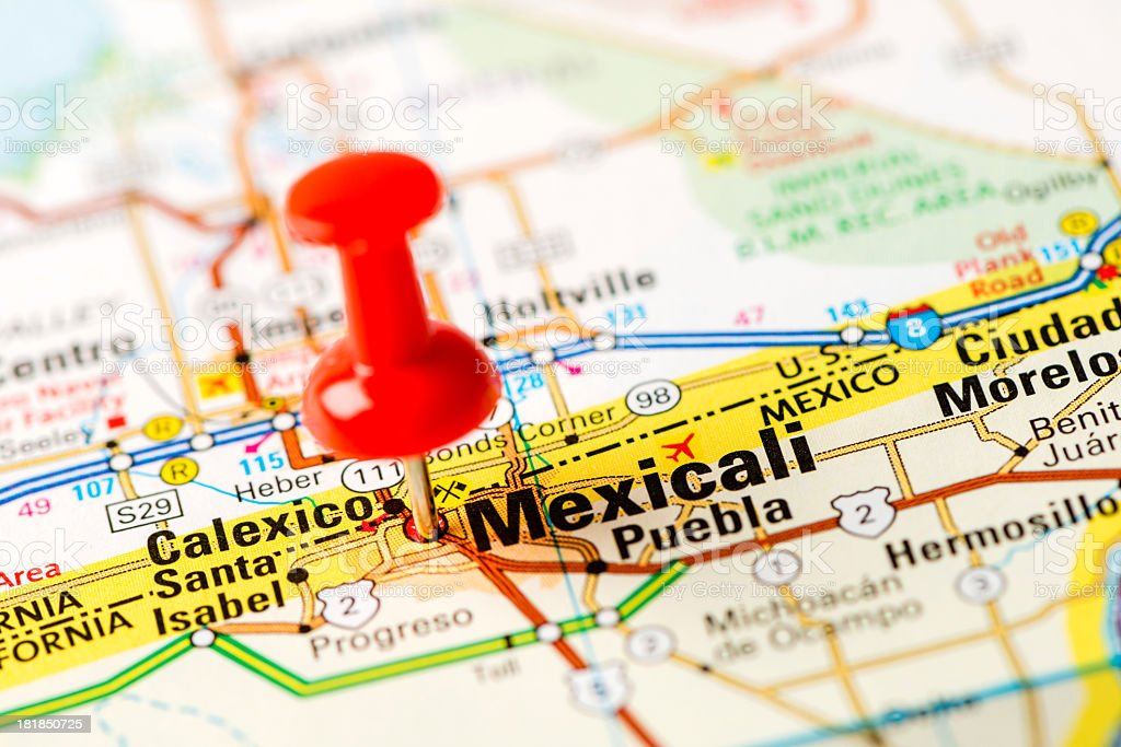 US capital cities on map series: Mexicali, Mexico stock photo