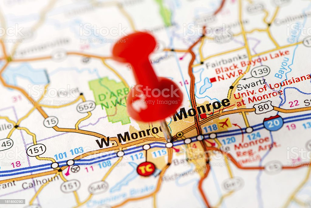 US capital cities on map series: Monroe, LA stock photo