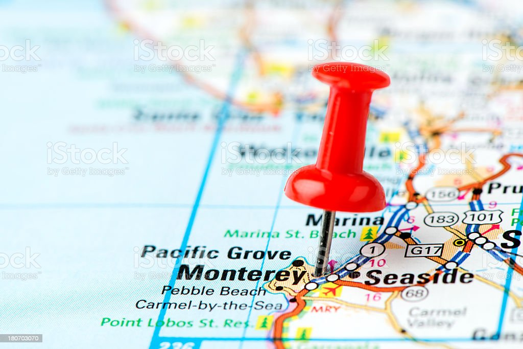 US capital cities on map series: Monterey, CA royalty-free stock photo