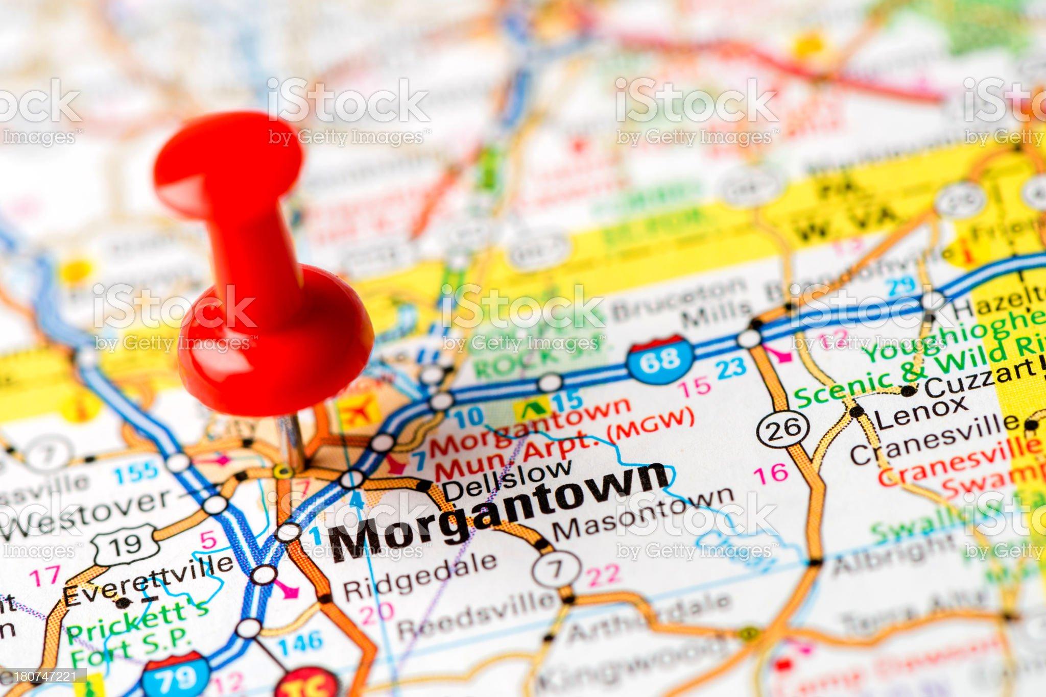 US capital cities on map series: Morgantown, W.VA. royalty-free stock photo