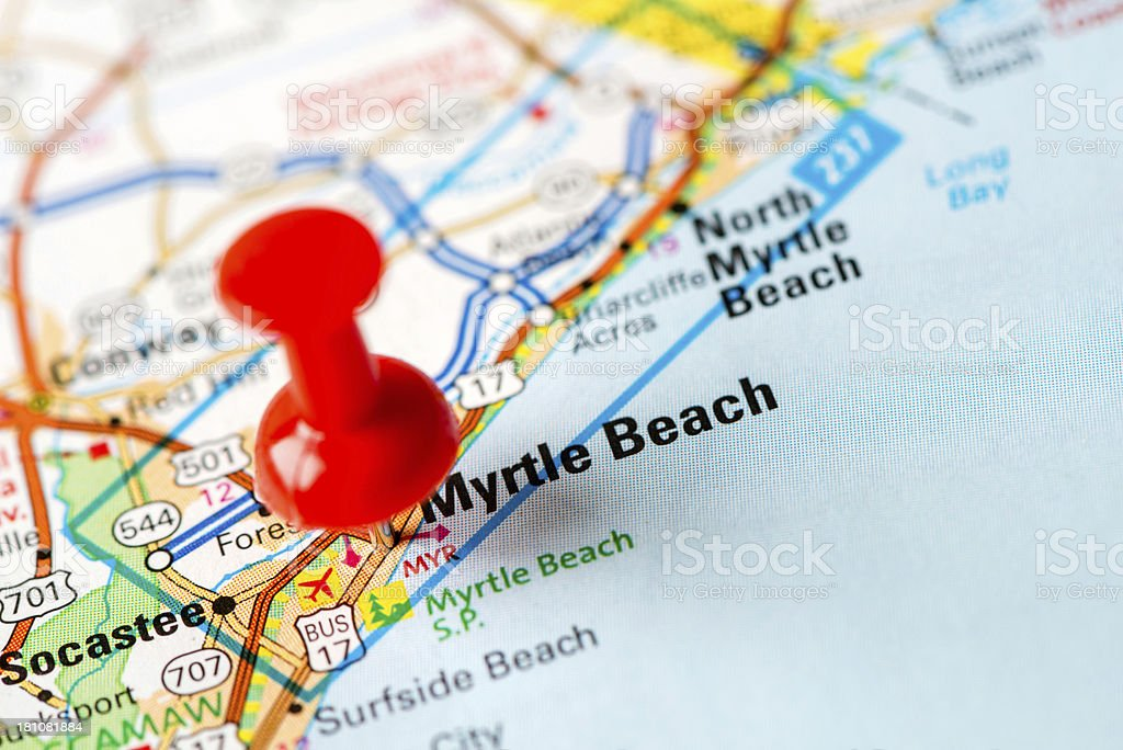 US capital cities on map series: Myrtle Beach, SC stock photo