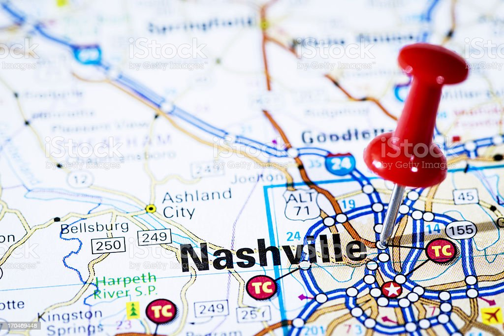 US capital cities on map series: Nashville, Tennessee, TN royalty-free stock photo