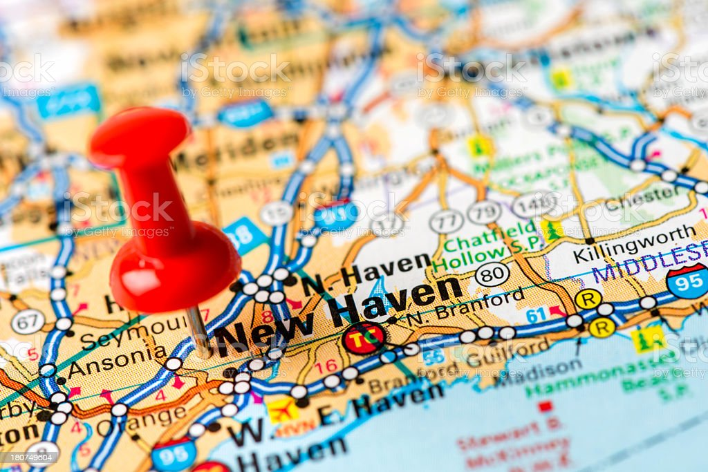 US capital cities on map series: New Haven, Connecticut stock photo