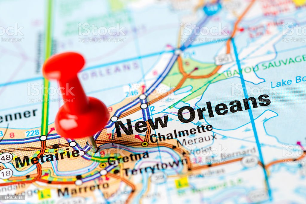 US capital cities on map series:  New Orleans, Louisiana stock photo
