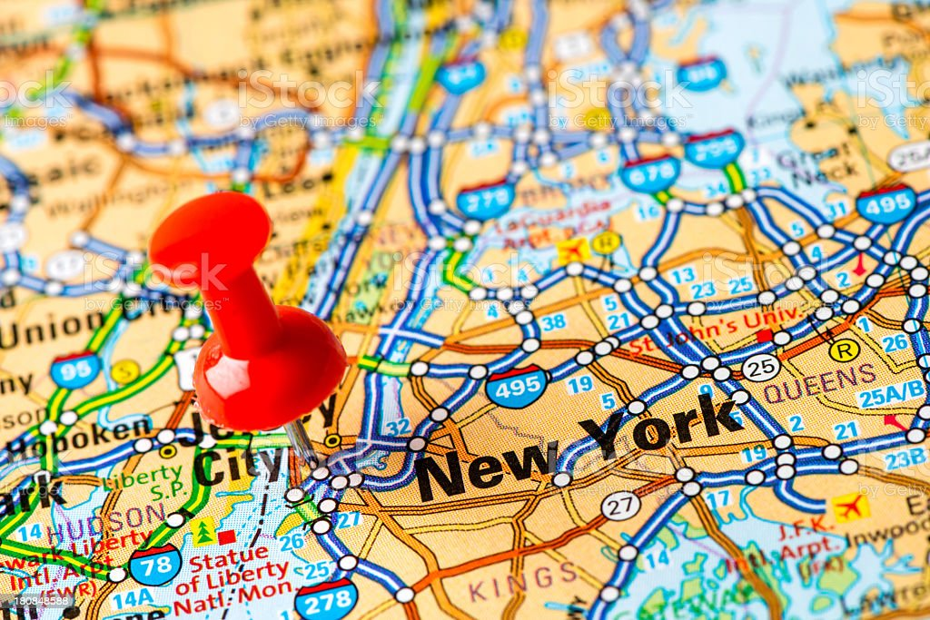 US capital cities on map series: New York, NY stock photo