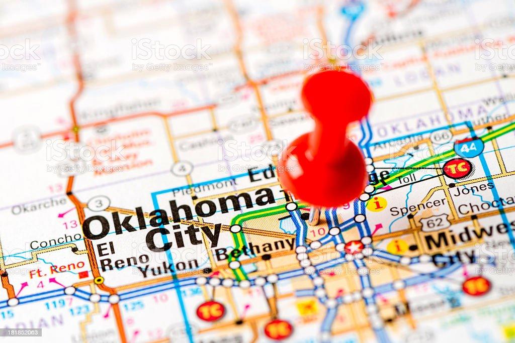 US capital cities on map series: Oklahoma City, OK royalty-free stock photo