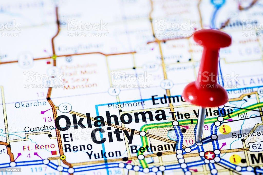 US capital cities on map series: Oklahoma City, Oklahoma- OK royalty-free stock photo
