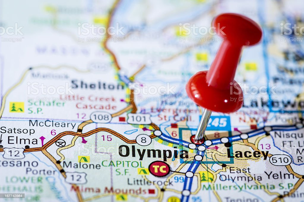 US capital cities on map series: Olympia, Washington, WA stock photo
