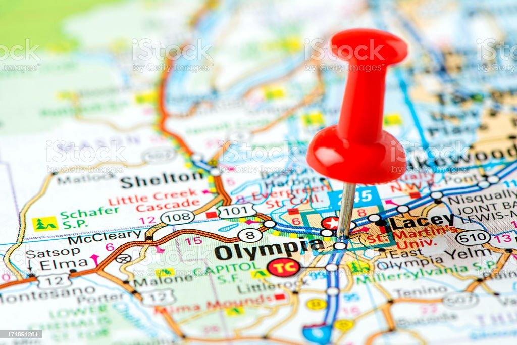US capital cities on map series: Olympia, Washington, WA royalty-free stock photo
