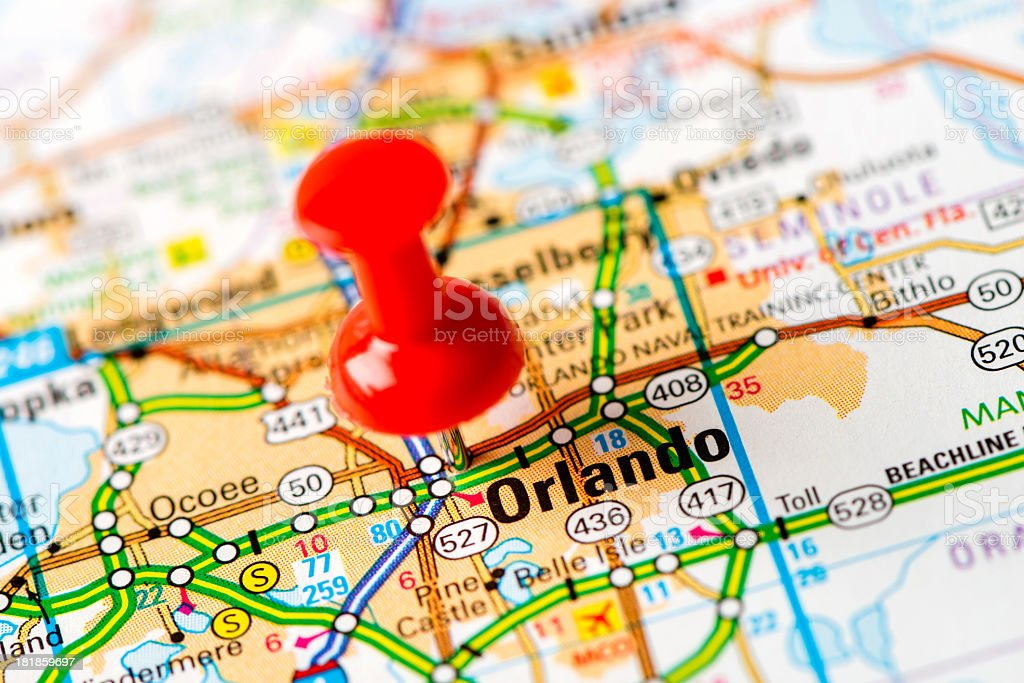 US capital cities on map series: Orlando, FL stock photo