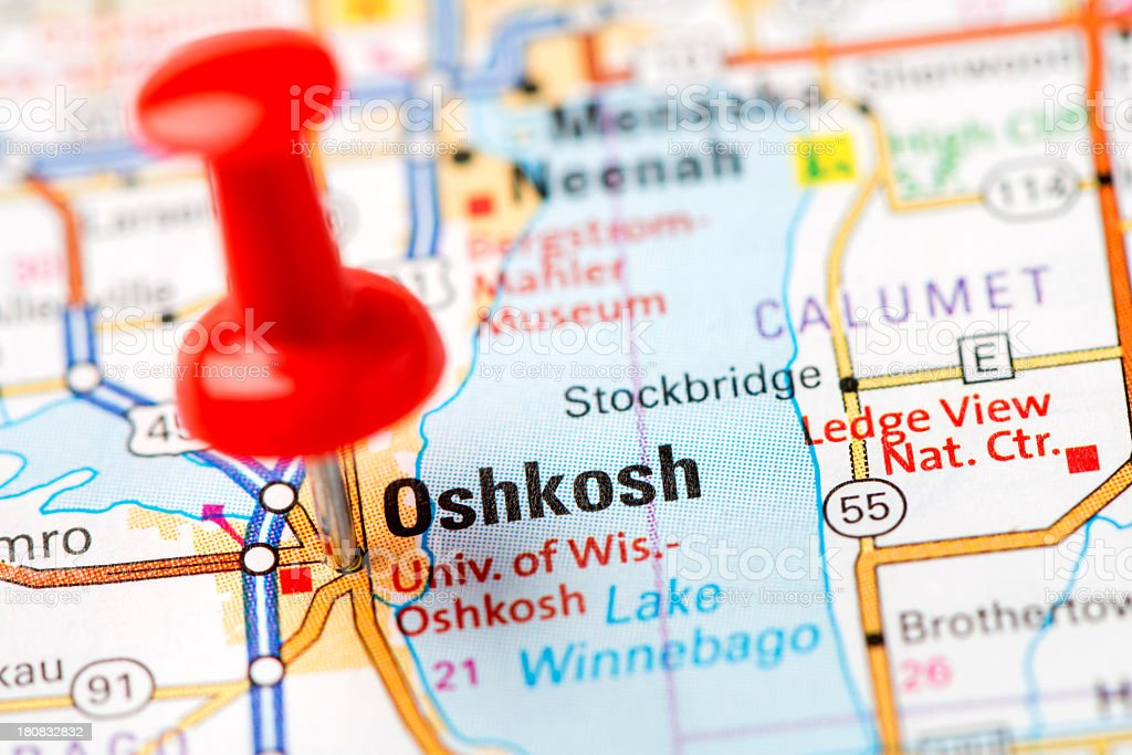 US capital cities on map series: Oshkosh, Wisconsin, WI stock photo