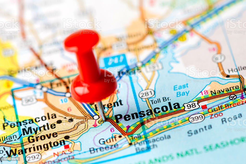 US capital cities on map series:  Pensacola, Florida stock photo