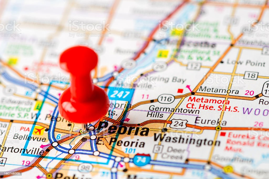 US capital cities on map series: Peoria, IL stock photo