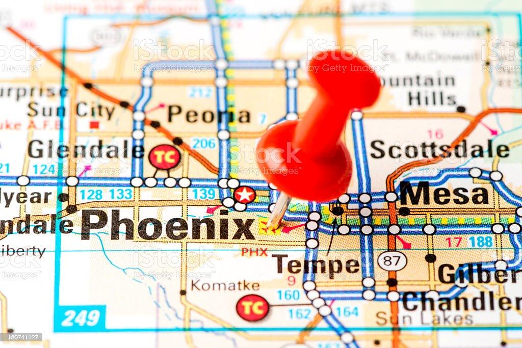 US capital cities on map series: Phoenix, Arizona, AZ stock photo