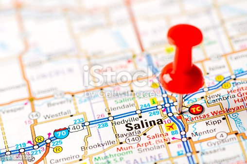 Us Capital Cities On Map Series Salina Ks Stock Photo - Salinas ks us map