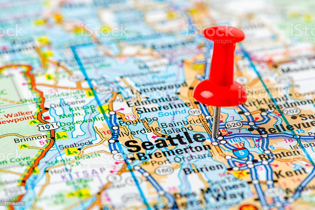 Us Capital Cities On Map Series Seattle Washington State Stock - Capital cities on map of us