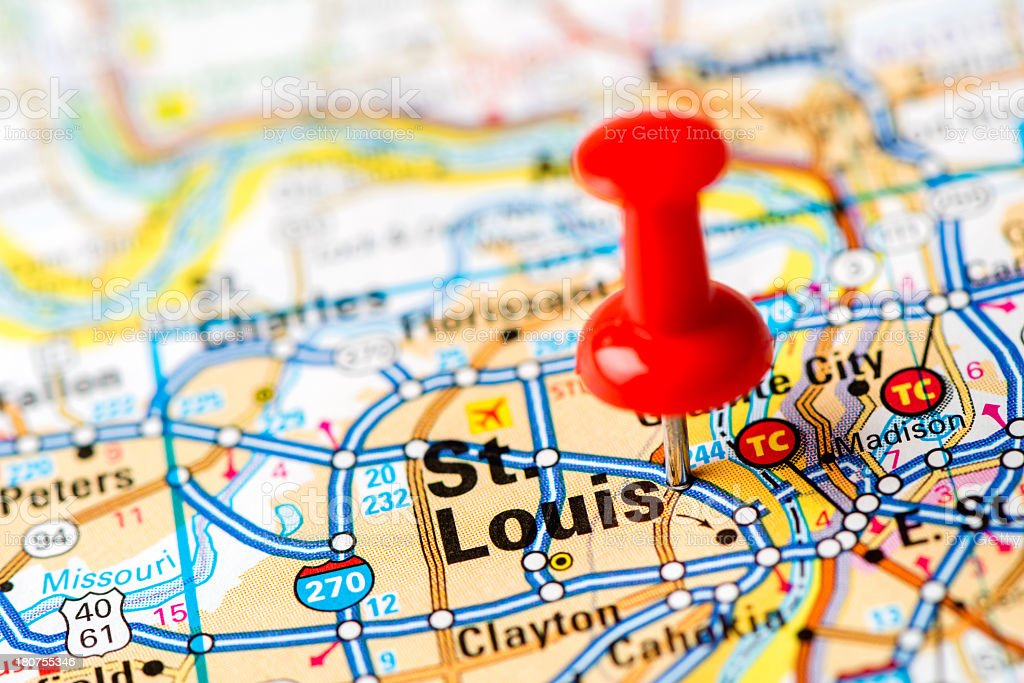 US capital cities on map series: St. Louis, MO stock photo