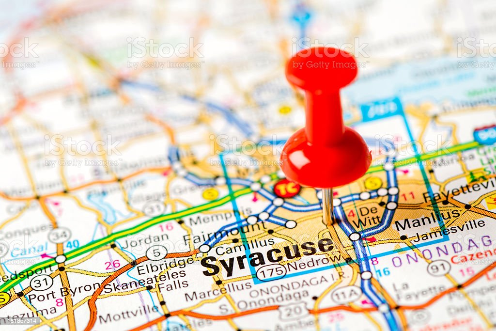 US capital cities on map series: Syracuse, NY stock photo