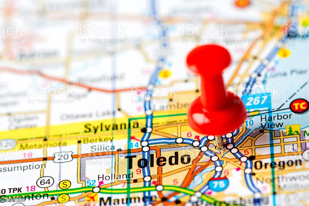 US capital cities on map series: Toledo, OH stock photo