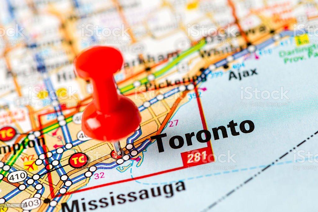 US capital cities on map series: Toronto, Ontario, royalty-free stock photo