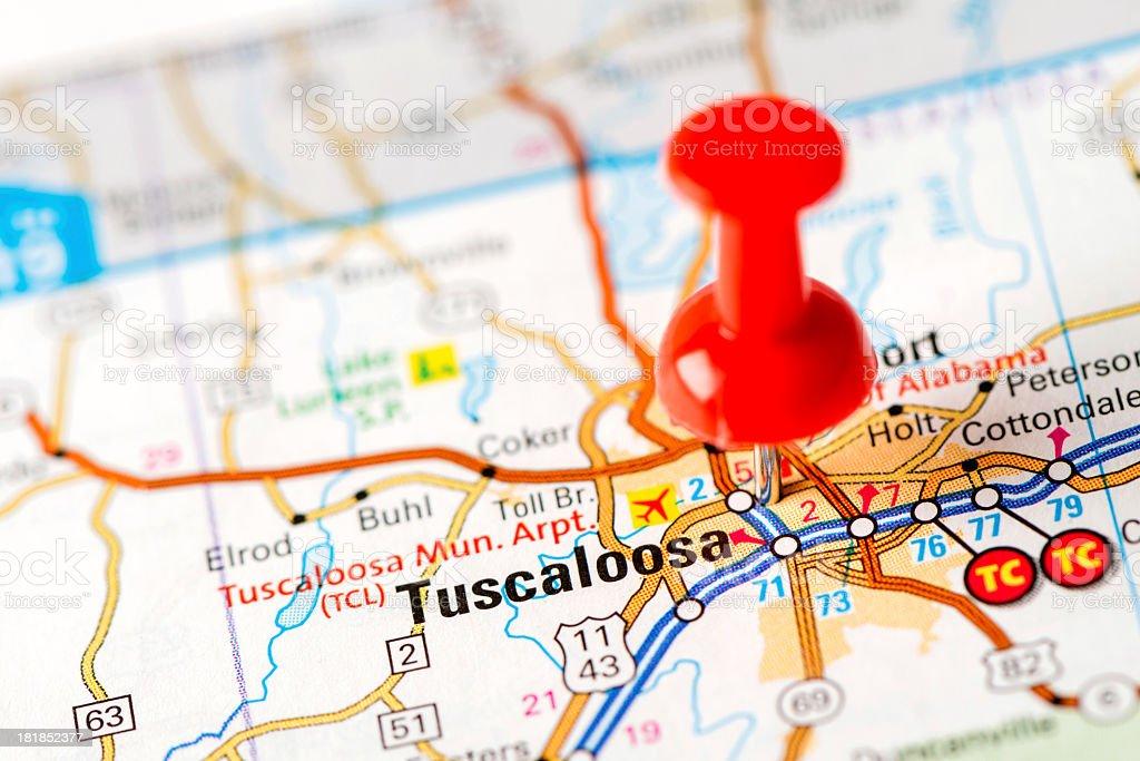 US capital cities on map series: Tuscaloosa, MS stock photo