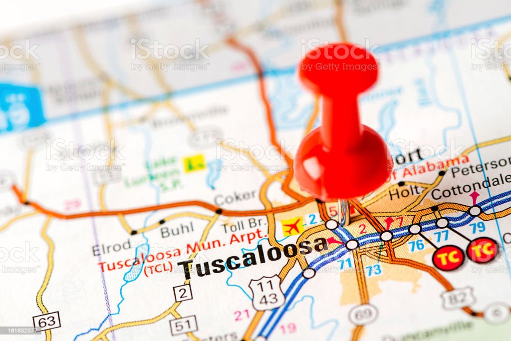 US capital cities on map series: Tuscaloosa, MS stock photo