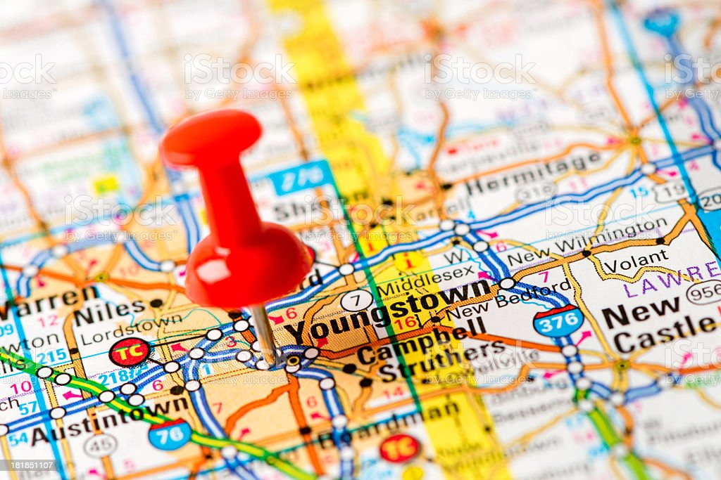 US capital cities on map series: Youngstown, Ohio stock photo