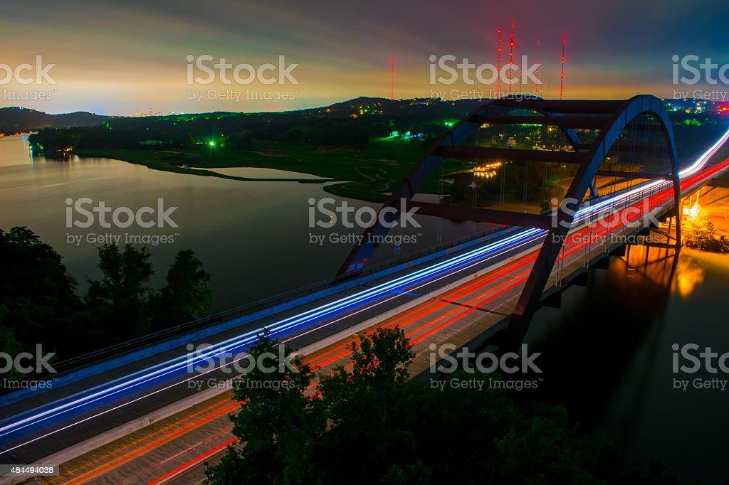 Capital City Pennybacker Bridge Austin Landmark Night Driving stock photo