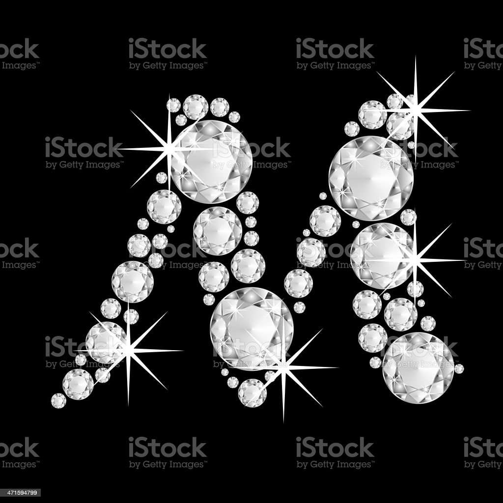 Capital diamonds  letter M of the alphabet royalty-free stock photo