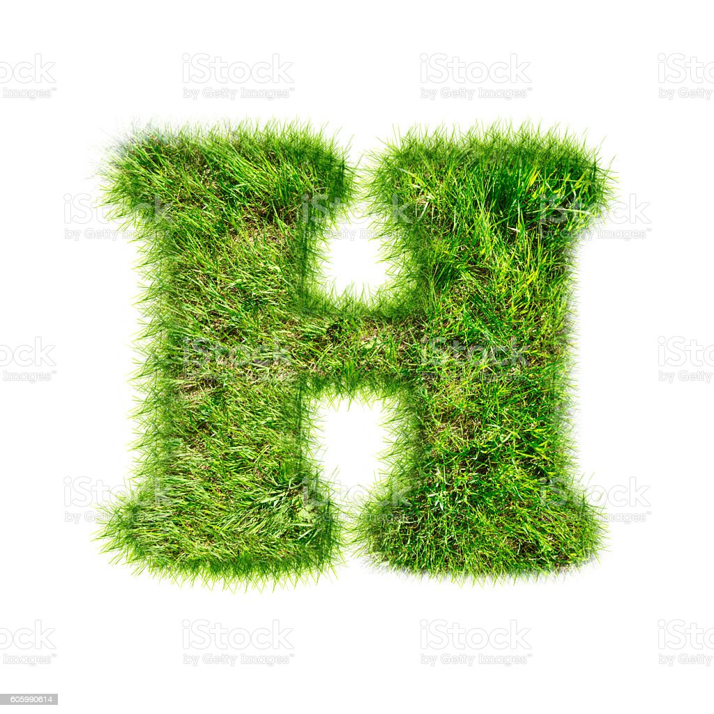 Capital latin letter of green grass stock photo