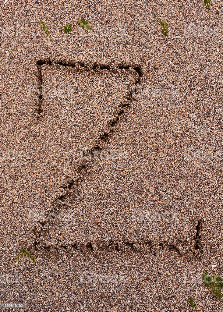 capital letter Z on the beach stock photo