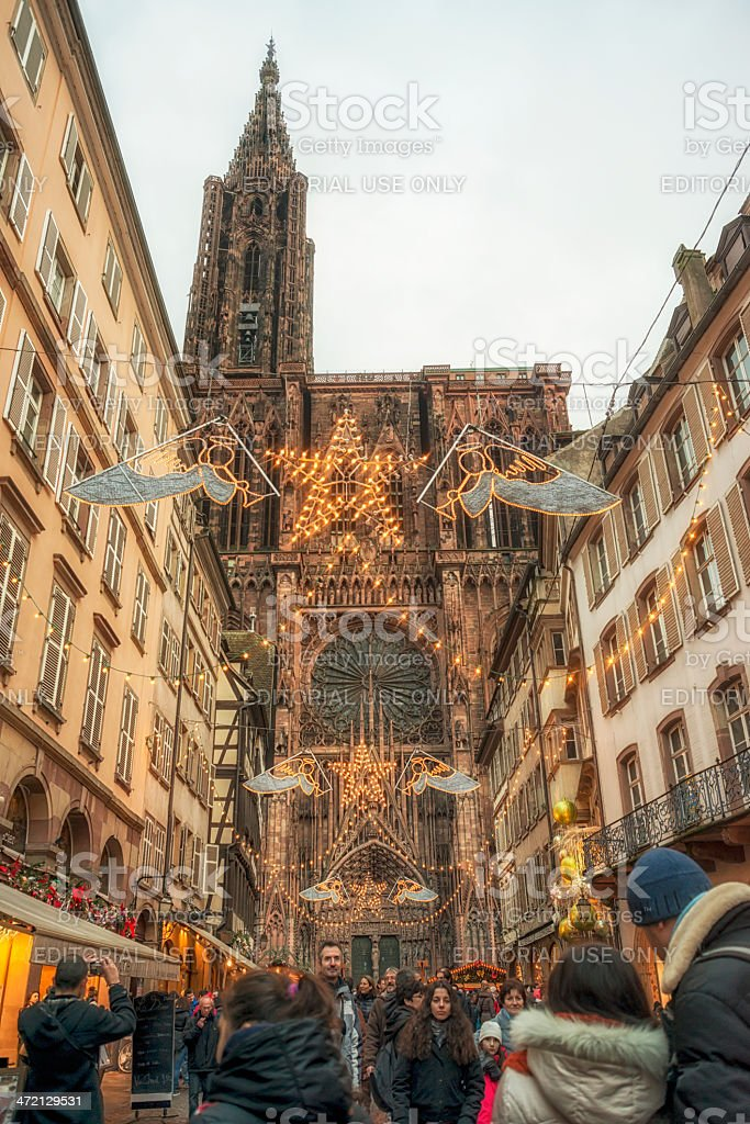 Capital of Noel, Strasbourg at Christmas with Catgedral Notre Damme stock photo