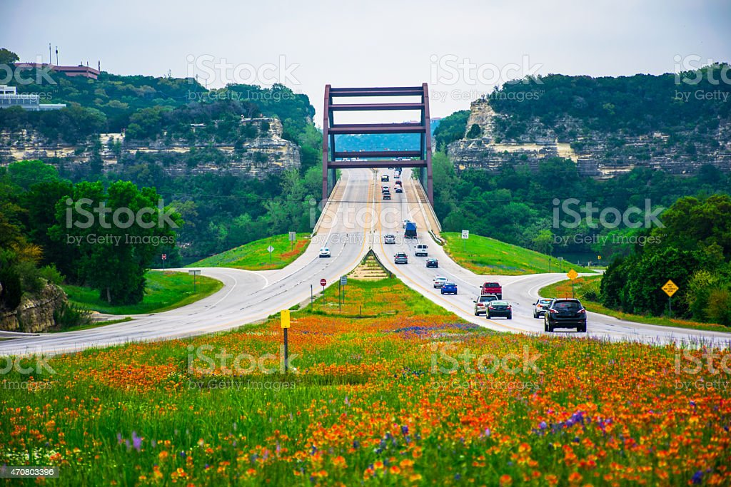 Capital of Texas Highway 360 Bridge Pennybacker Bridge Wild Flowers stock photo