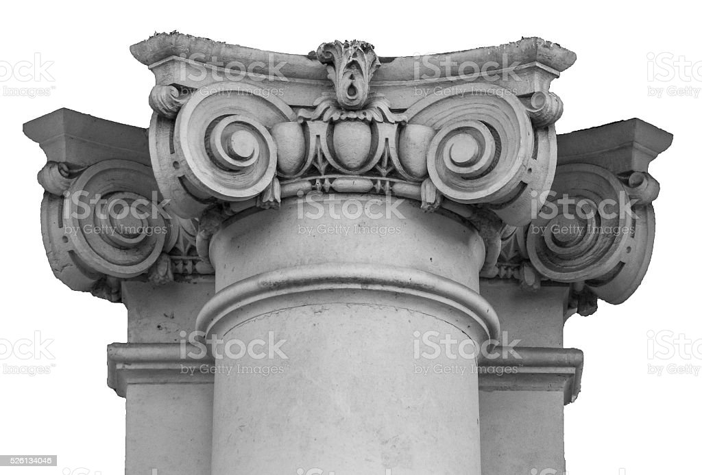 Capital of wall Ionic column stock photo