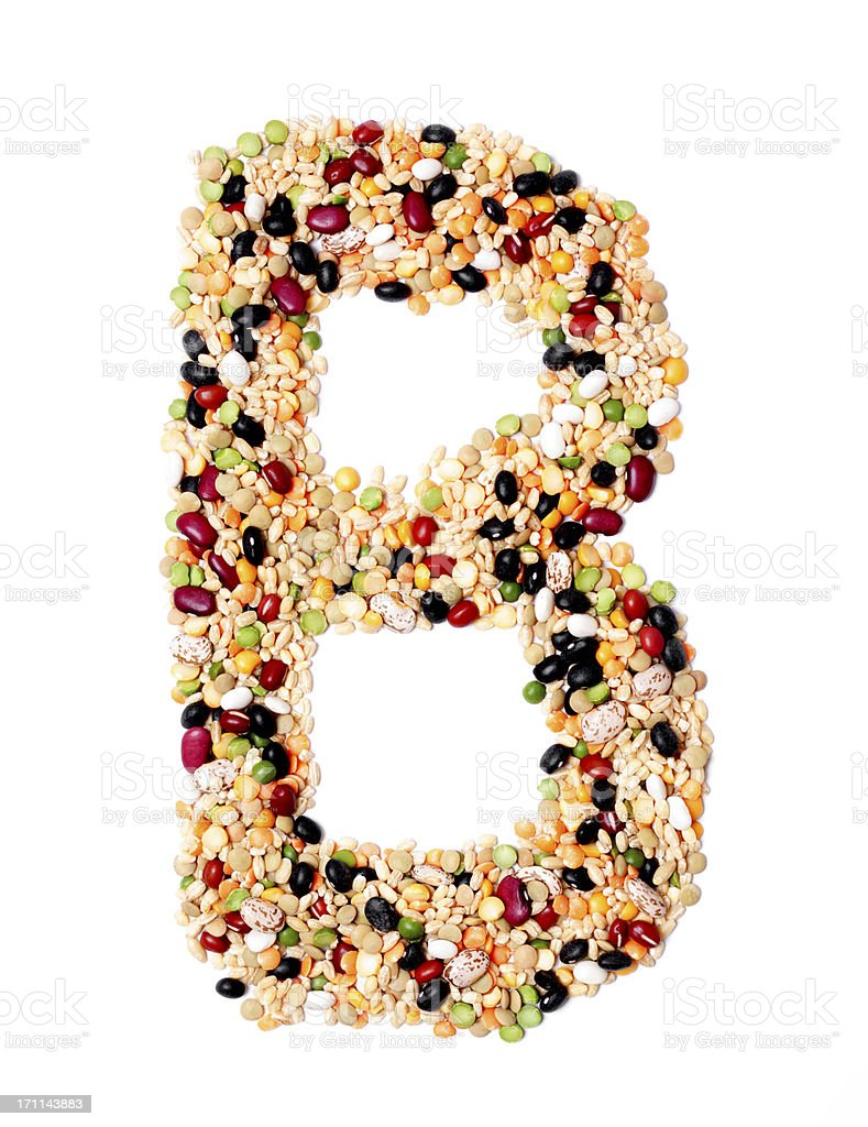 Capital or Upper Case Letter B made from Beans royalty-free stock photo