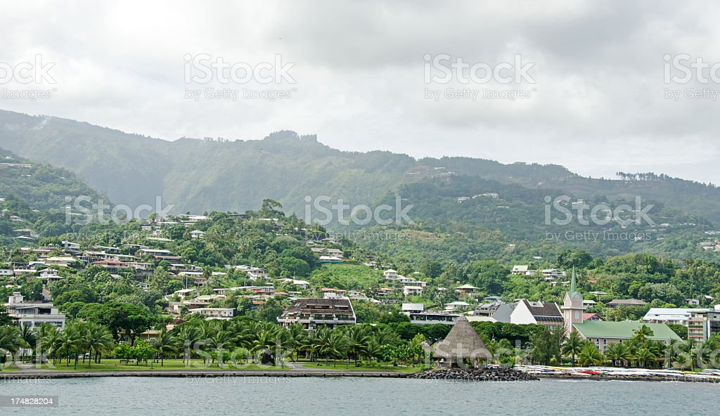 Capital Papeete,  on the huge island of Tahiti royalty-free stock photo