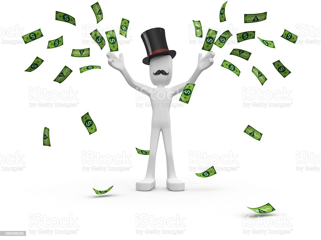 Capitalist scattering money. royalty-free stock photo